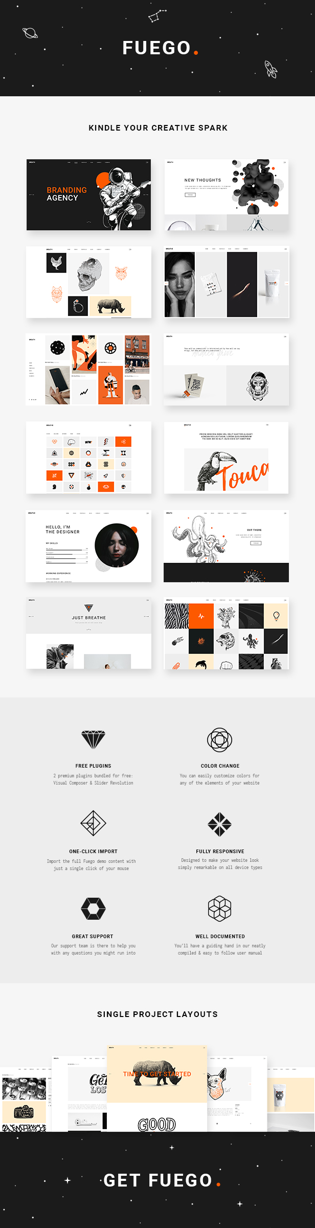 WordPress theme Fuego - A Creative Portfolio Theme for Designers and Agencies (Portfolio)